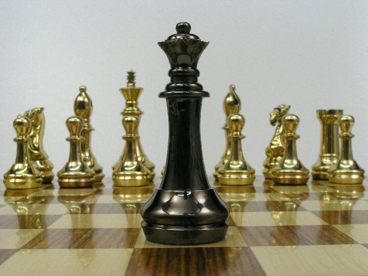 King John Very Heavy Brass Staunton Chess Set 0 1278 426100